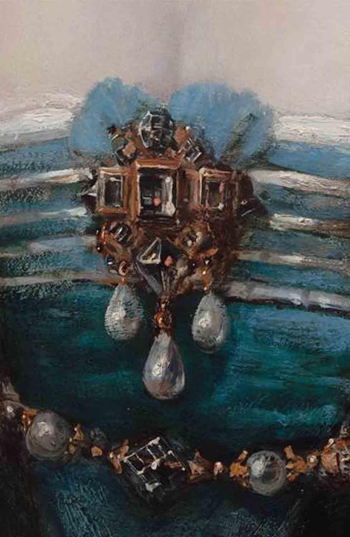 """1. Brosza  Brosza srebrna złocona z perłami i ametystami wykonana na podstawie obrazu autorstwa Petera Paula Rubensa - pracownia. Jest to  """"Portret młodej kobiety"""" z  około 1620-1630r.  znajdujący się w Hadze w Mauritshuis, Koninklijk Kabinet van Schilderijen  Przy pracy nad rekonstrukcją broszy wzorowałam się na zachowanych  projektach biżuterii z lat 1590-1630 oraz  wyrobach z XVII w znajdujacych sie w zbiorach muzealnych"""